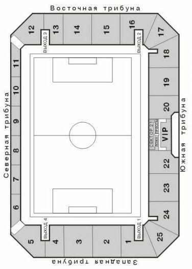 Схема стадиона Центральный.